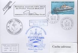 TAAF PLI KERGUELEN  25 3 2013 SUR TP 520 Posté A Bord MARION DUFRESNE Signé Du Cdt. Cachets Divers Recto Verso - Zonder Classificatie
