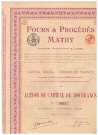 Titre Ancien - Fours & Procédés Mathy - Société Anonyme à Liège - Titre De 1920 - Industrie