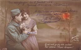 """MILITARIA. GUERRE 1914- 18.CARTE PATRIOTIQUE..COUPLE. """"LE CIEL CÉLÈBRE L'AMOUR VAINQUEUR """" + TEXTE DU 3 JUILLET 1916 - Guerre 1914-18"""