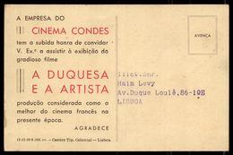Postal Publicitario Filme No CINEMA CONDES Lisboa. Vintage Postcard YVONE PRINTEMPS & PIERRE FRESNAYS Portugal 1930s - Lisboa