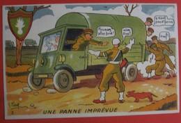 Illustrateur PETIET - Humour Militaria - UNE PANNE IMPREVUE - Humour