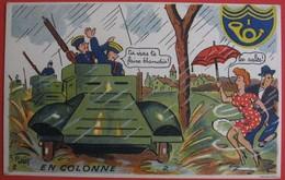 Illustrateur PETIET - Humour Militaria - EN COLONNE - Humor