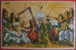 Illustrateur PETIET - Humour Militaria - LE VIRAGE - Humour