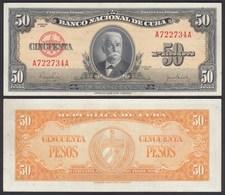 Kuba - Cuba 50 Peso 1950 Pick 81a AUNC (1-)    (25730 - Other - America