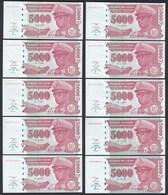 Zaire - 10 Stück á 5000 5.000 Nouveaux Zaires 1995 Pick 69 UNC   (89017 - Banknoten