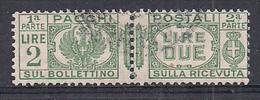 REGNO D'ITALIA 1927-32 PACCHI POSTALI VITTORIO EMANUELE III AQUILA SABAUDA SASS. 31 USATO VF - Postal Parcels