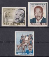 Liberia 1968 Martin Luther King Mi#702-704 Imperforated, Mint Never Hinged - Martin Luther King