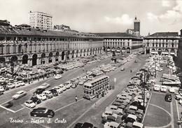 TORINO-PIAZZA SAN CARLO-ANIMATISSIMA-CARTOLINA VERA FOTOGRAFIA-NON VIAGGIATA 1955-1960 - Places & Squares