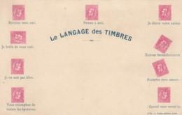 Language Of Stamps Langage Des Timbres, Stamps In Various Positions, C1900s Vintage Postcard - Francobolli (rappresentazioni)