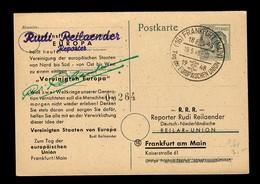 Ganzsache Frankfurt Tag Der Europäischen Union, 1948, Werbekarte Für EU - American,British And Russian Zone