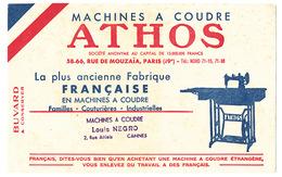 Buvard  20.6 X 13 Machines à Coudre ATHOS   Cachet Du Magasin Louis Negro à Cannes - Buvards, Protège-cahiers Illustrés