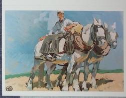 Petit Calendrier Poche Imprimé En Breton Peinture Mathurin Méheut Chevaux De Labour 1992 - Calendriers