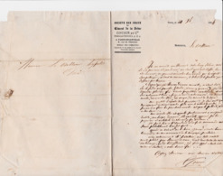 PARIS BELLEVILLE COUSIN SOCIETE DES CHAUX ET CIMENT DE LA SEINE ANNEE 1864 LETTRE DOUBLE - France