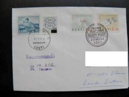 Cover Estonia Tallinn Registered To Lithuania Europa Cept 1994 Fdc Cancel Overprint Stamp 0,60 Coat Of Arms Narva Castle - Estonia