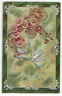 Carte Fantaisie Gauffrée - Colombe Et  Ceinture De Fleur - Fer à Cheval - Flores, Plantas & Arboles