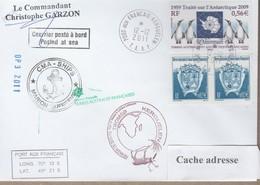 TAAF PLI KERGUELEN  12 12 2011 SUR TP 323+551 PAQUEBOT Signé Du Cdt. Cachets Divers Recto/verso - Terres Australes Et Antarctiques Françaises (TAAF)