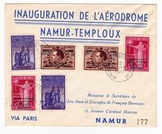 Lettre 1947 Inauguration Aérodrome Namur Temploux Poste Aérienne François Bovesse - Airmail