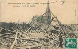 TOURS SUR MARNE - Inondations Dans La Marne, 23 Et 25 Janvier 1910, Les Dégâts (carte Vendue En L'état) - Autres Communes