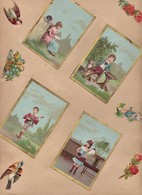 Anciens Chromos Publicitaires - Découpis - Jeux D'enfants - Animaux - Fleurs ( Chromo Lithographie ) - Autres