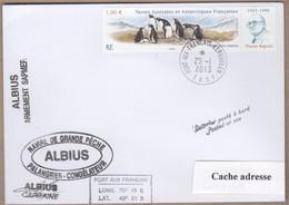 TAAF PLI KERGUELEN 25 1 2013 SUR TP 595 PALANGRIER ALBIUS Signé - Sin Clasificación