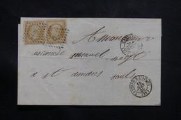 FRANCE - Lettre De Castres / L'Agout Pour St Amans -Soult En 1859, Affranchissement Napoléon 10ct En Paire - L 54832 - 1849-1876: Klassieke Periode