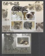 C1003 2013 UNION ISLAND FAUNA PETS CAT BREEDS 1BL+1KB MNH - Gatti