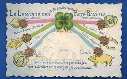 Porte Bonheur   Le Langage  Relief Découpi   Eléphant - Fancy Cards