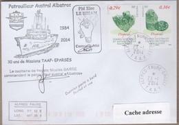 TAAF PLI CROZET TP 602/603 Obl. 23 1 2014 Posté à Bord Patrouilleur Albatros Signé Du Cdt. - Zonder Classificatie