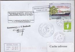 TAAF PLI CROZET TP 601+679 Obl. 7 11 2013 Posté à Bord MARION DUFRESNE Signé Du Cdt. Cachets Divers Recto Verso - Zonder Classificatie