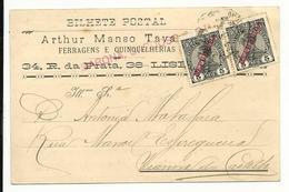 Commercial Card - Portugal - 1911 - Arthur Manso Tavares - Barona, Cardoso & Cª, Lda. - Lisboa - 1910 : D.Manuel II