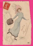 CPA (Réf: Z 2908) (ILLUSTRATEURS & PHOTOGRAPHES  SIGNÉS) Belle Femme Avec Chapeau - Autres Illustrateurs