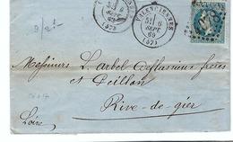 FRANCE 1867: LAC  Du 6.IX.69 De Valenciennes à Rive-de-Gier (Loire) Avec Le Y&T 29B, CAD Et Obl. GC4078  (Ind.1) - 1863-1870 Napoléon III. Laure