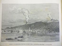 Sicile , Derniére éruption Du Mont Etna , Le Nouveau Cratére , Gravure De  W L Wyllie 1886 - Documents Historiques