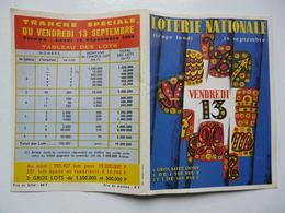 VIEUX PAPIERS - LOTERIE NATIONALE : Vendredi 13 - Tirage Lundi 16 Septembre 1968 - Tableau Des Lots - Billetes De Lotería