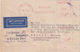 ALLEMAGNE 1949 ZONE ANGLO-AMERICAINE CARTE PAR AVION EMA DE HANAU - Zone Anglo-Américaine
