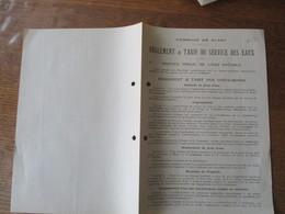 CLARY COMMUNE REGLEMENT & TARIF DU SERVICE DES EAUX LE MAIRE DE CLARY J. MONTIGNY - Historische Dokumente