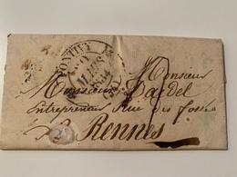 Lettre De 1834 Avec Cachet De Pontivy  Morbihan - Postmark Collection (Covers)