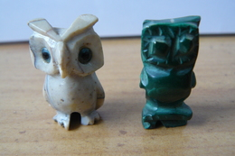 Lot De 2 Chouettes - Malachite Et Quartz - Animals