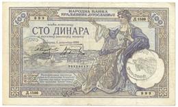 """100 DINARI OCCUPAZIONE ITALIANA DEL MONTENEGRO """"VERIFICATO"""" 01/12/1929 BB/BB+ - [ 3] Emissions Militaires"""