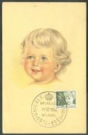N°955 - 20c. Antituberculeux ENFANT Obl. Sc AMICALE PHILATELIQUE Sur Carte Maximum De BRUXELLES 11-12-1954, Envoyée Avec - Maximum Cards