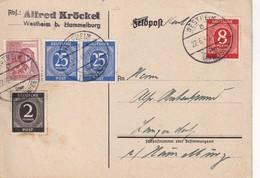ALLEMAGNE 1948 ZONE AAS CARTE  DE WESTHEIM ÜBER HAMMELBURG - Zone AAS