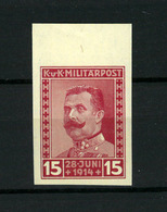 BOSNIA  Austria , IMPERFORATED 1917 Mi 122,  Stamp Of   15  Helera MNH** - Bosnia And Herzegovina