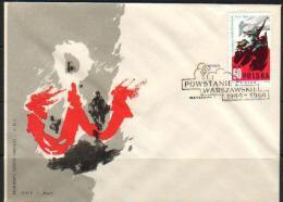 POLAND FDC 1964 20TH ANNIV OF WARSAW UPRISING WAR GHETTO JUDAICA FREEDOM FIGHTERS WW2 MERMAID CANCEL - Guerre Mondiale (Seconde)