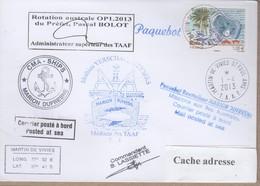 TAAF PLI ST PAUL ET AMSTERDAM TP FRANCE 4611 Obl. Paquebot 1 4 2013 MARION DUFRESNE Signé Cachets Divers Recto/verso - Zonder Classificatie