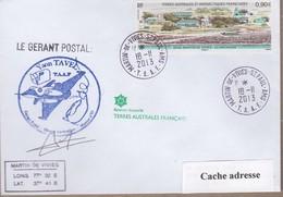 TAAF PLI ST PAUL ET AMSTERDAM TP 581 Obl. 18 11 2013 Cachets DU Gérant Postal Signé - Sin Clasificación