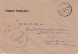 Lettre Pré-imprimée (Deutsche Reichbahn) Obl Bad Ems H En Franchise Le 21/9/43 Pour Metz + Cachet Bahnhof Bad Ems - Deutschland