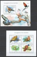 TG752 2013 TOGO TOGOLAISE FAUNA BIRDS LES PIGEONS ET LES COLOMBES KB+BL MNH - Oiseaux