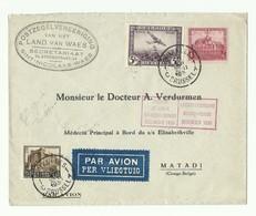 Affr. CHATEAUX Et PA 5Fr. Obl. Sc BRUXELLES 1 Sur Lettre Par Avin (Etiq.) Du 5-XII-1930 Vers Matadi (Congo Belge) Via Lé - Poste Aérienne