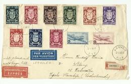 N°716/724 + PA8/9 (SKYMASTER) Obl. Sc LEUVEN 1 Sur Devant Recommandée, Par Avion Et Exprès (Etiq.) Du 20-5-1946 Vers La - Belgium