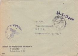 Lettre Pré-imprimée (...der Waffen SS Düsseldorf) Obl Düsseldorf 1hh En Franchise Le 12/4/44 + SS-Felpost - Deutschland